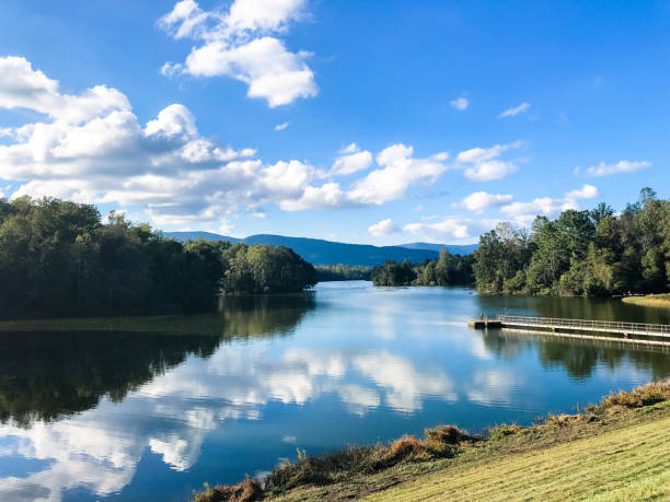 Scenic Reservoir of Charlottesville Photo was taken in the Beaver Creek Reservoir park of Charlottesville, Virginia. It is a famous recreation area for the local community. charlottesville stock pictures, royalty-free photos & images