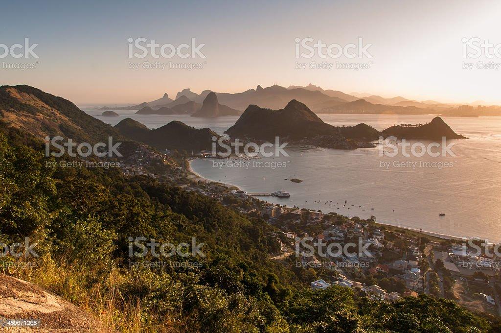 Scenic Rio de Janeiro Mountain View By Sunset stock photo