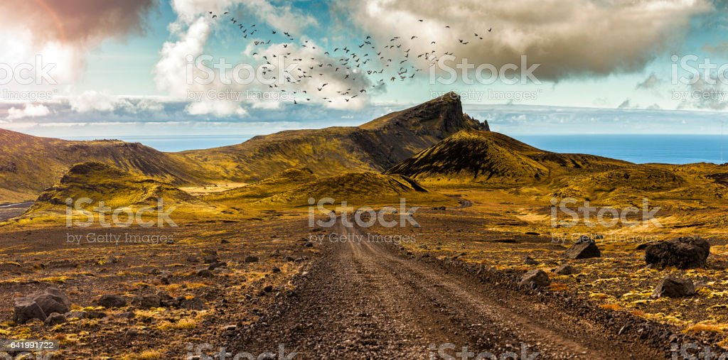 Scenic road and surreal landscape at the Highlands of the Snaefellsnes peninsula stock photo