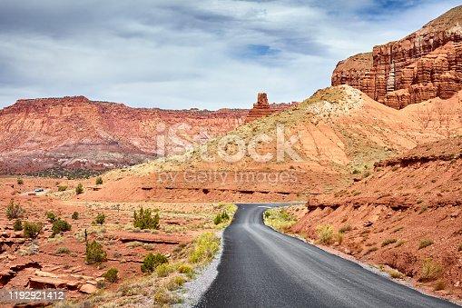 Scenic road in Capitol Reef National Park, Utah, USA.