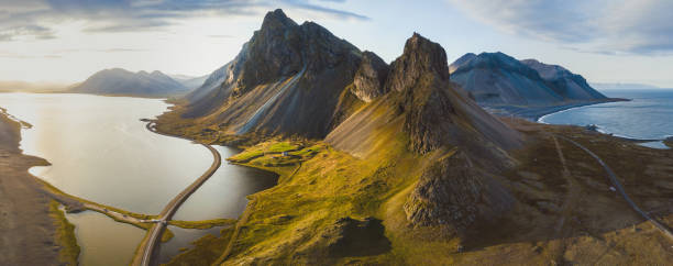 scenic road in Iceland, beautiful nature landscape aerial panorama of mountains stock photo