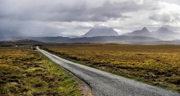 Scenic road  in northern Scotland stock photo