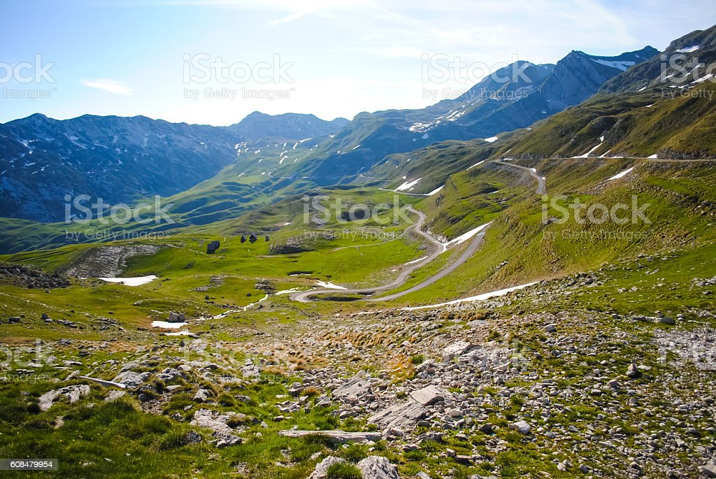 Scenic road in the mountains of Montenegro stock photo