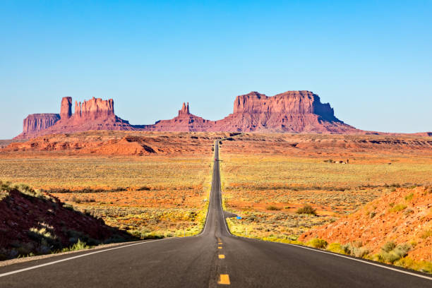 Scenic Road leading to Monument Valley stock photo