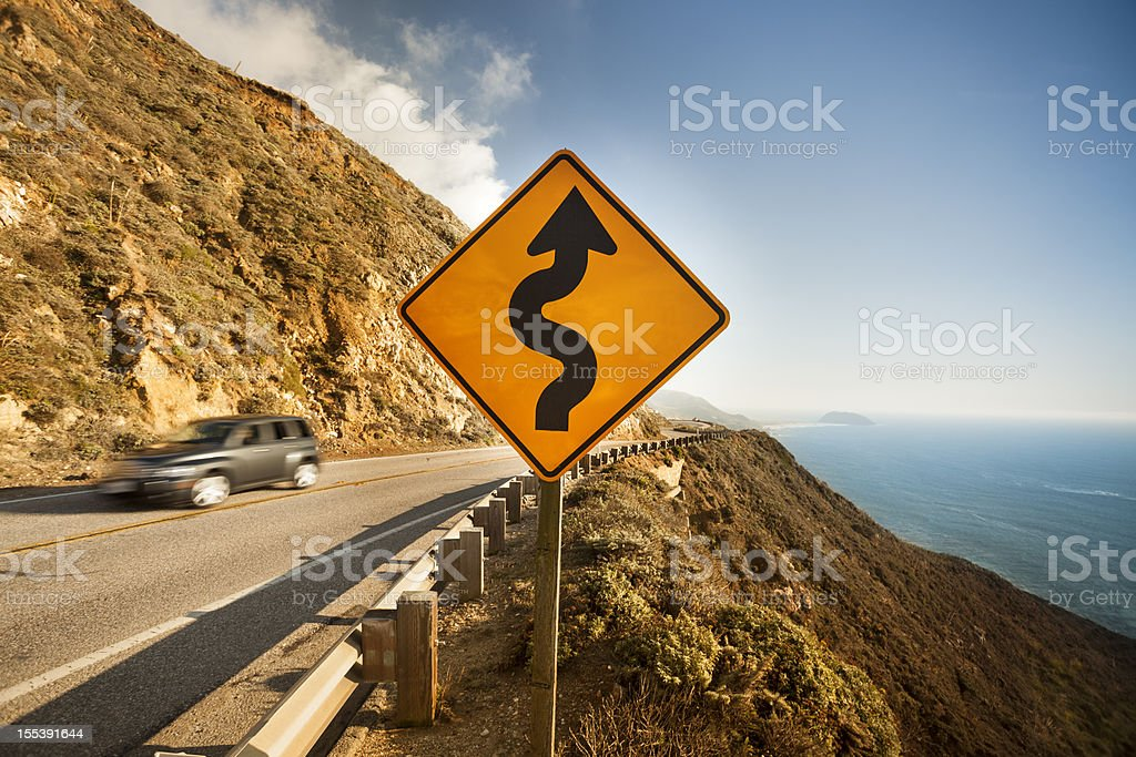 Scenic road on the Big Sur, Coastline and sea stock photo