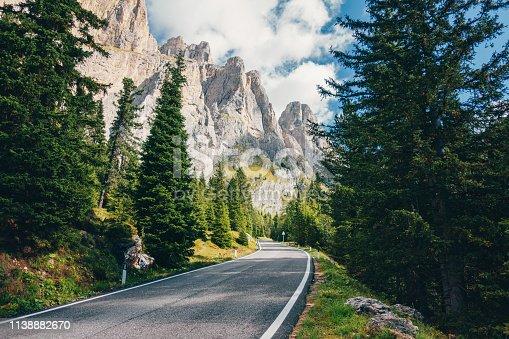 Scenic road in the Dolomites Alps, Italy
