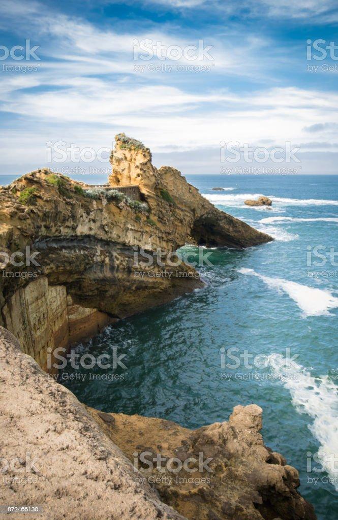 pittoresque rocher de la vierge sur la côte Atlantique en coloré époustouflant, Biarritz, pays Basque, France - Photo