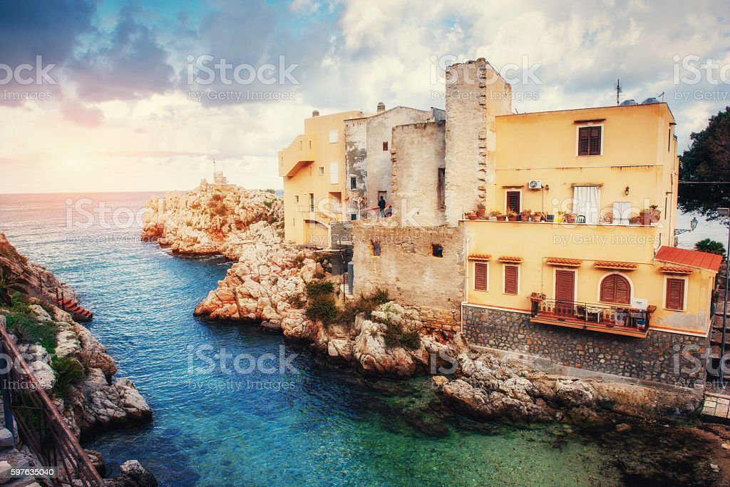 Scenic rocky coastline Cape Milazzo. Sicily, Italy. stock photo