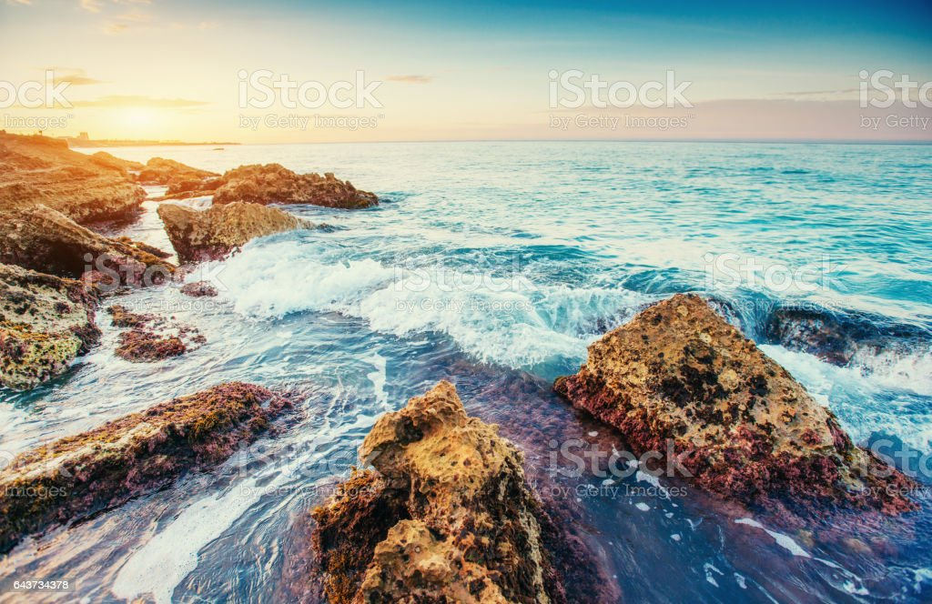 Scenic rocky coastline Cape Milazzo. Sicily, Italy stock photo
