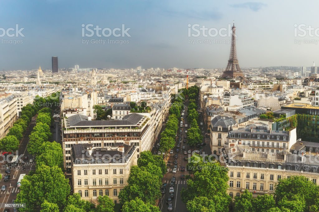 Scenic rooftop view of Paris, France, from the Triumphal Arc stock photo