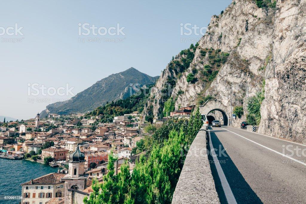 Scenic route on Lake Garda and beautiful village Limone sul Garda, Italy stock photo