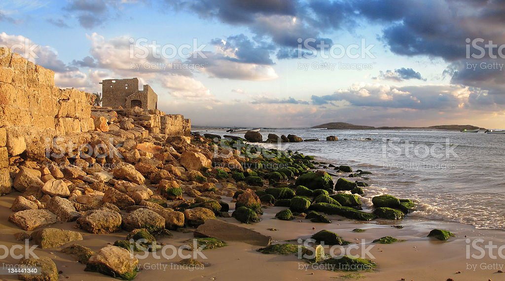 Scenic ruins on sea shore royalty-free stock photo