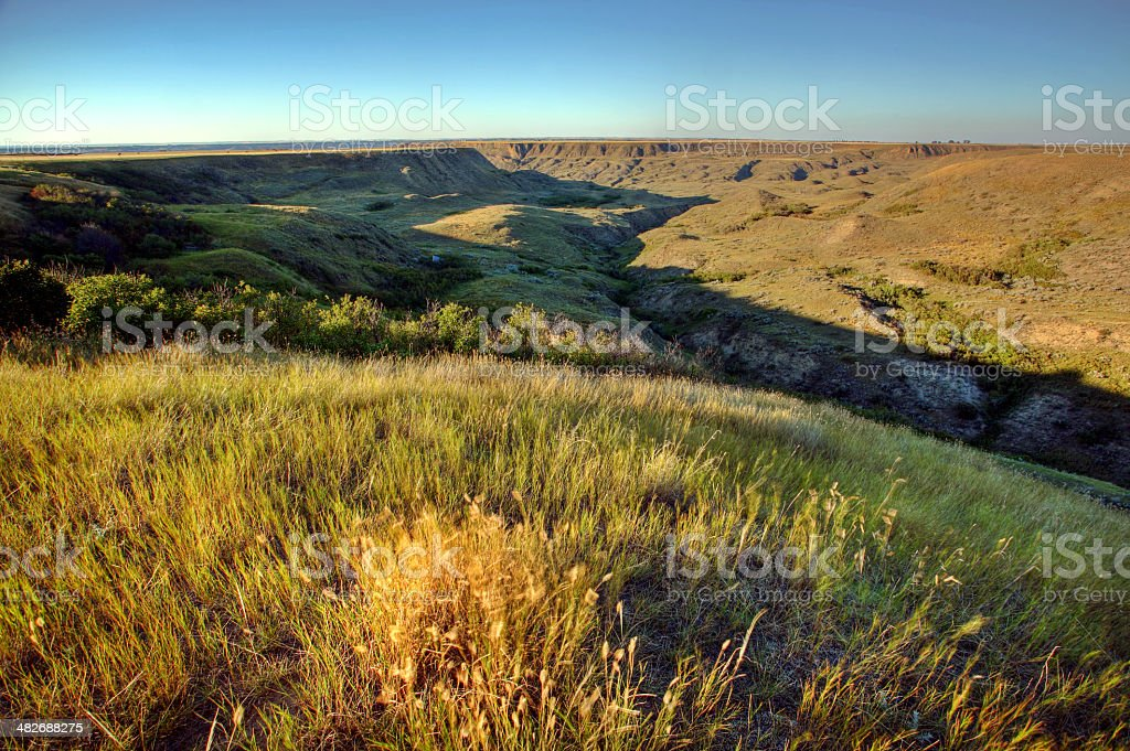 Scenic Saskatchewan coulee stock photo