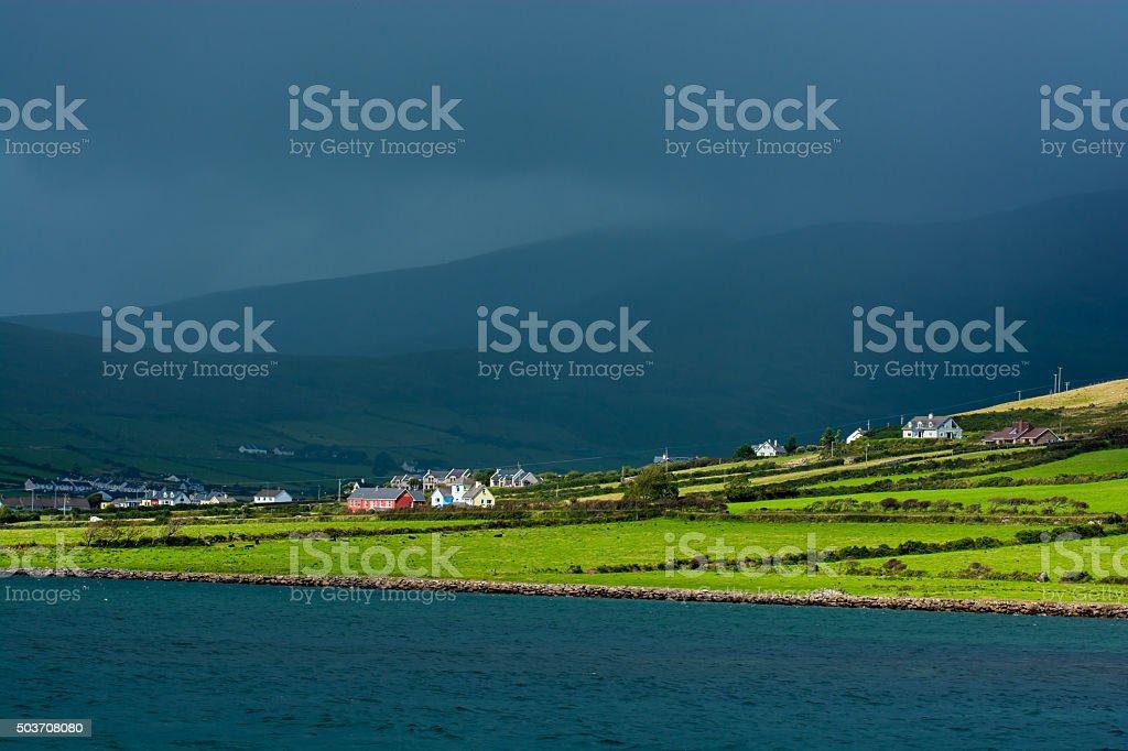 Scenic Settlement at Coast of Ireland stock photo