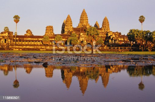 Angkor Wat in Cambodia was built in the early 12th century as a temple and capital city. Angkor is one temple among many at the site although is the largest and best-preserved temple built in Khmer architecture style.   Angkor appears on Cambodia's national flag and is one of the major tourist destinations of SouthEast Asia.
