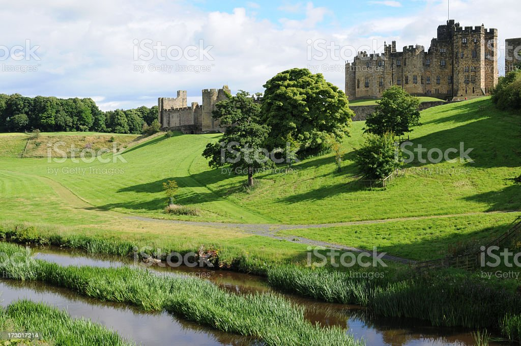 Scenic shot of Alnwick castle in Northumberland stock photo