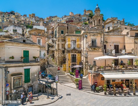 Scenic sight in Ragusa Ibla on a summer day, Sicily, southern Italy. July-13-2018