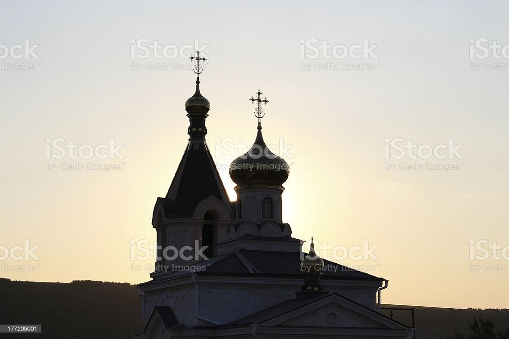 Scenic silhouette with crosses of Orthodox church royalty-free stock photo
