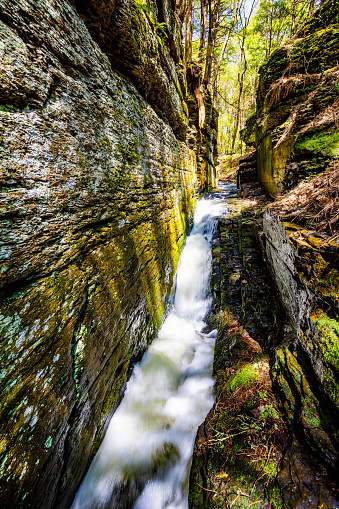 Scenic Silverthread falls of Dingmans ferry in spring time
