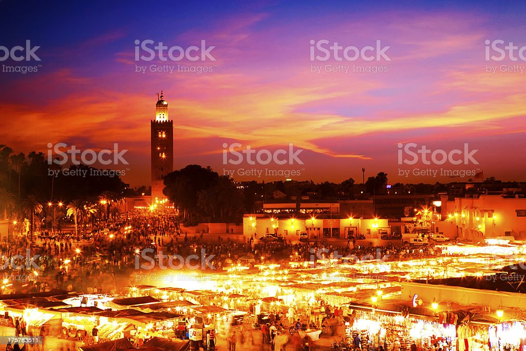 A scenic skyline view at sunset in Marrakesh stock photo