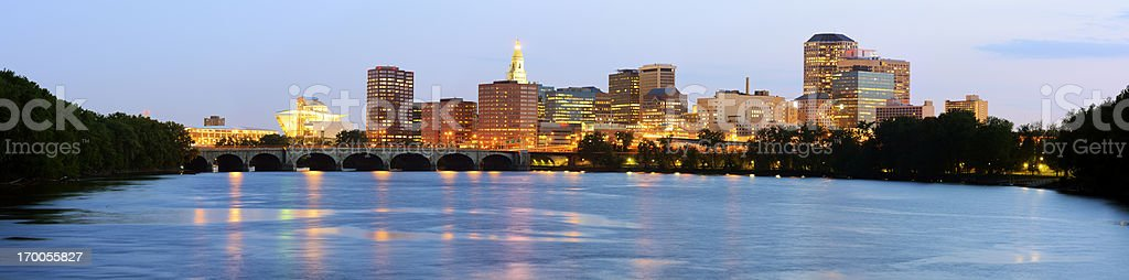 Scenic skyline view of Hartford, CT stock photo
