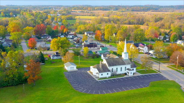 Scenic Small Town Nestled Amid Fertile Valley In Beautiful Rural Wisconsin Scenic Small Town Nestled in Autumn Valley, Beautiful Rural Wisconsin Fall colors. amid stock pictures, royalty-free photos & images