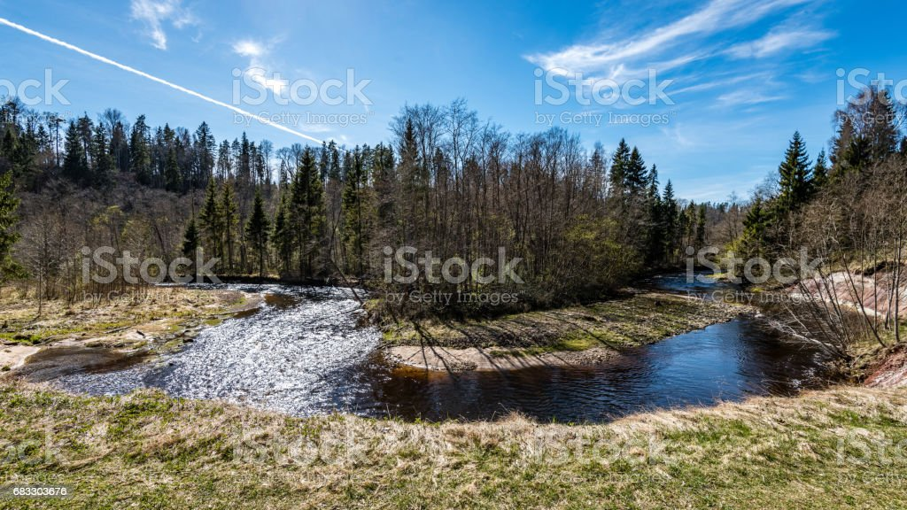 scenic spring colored river in country zbiór zdjęć royalty-free
