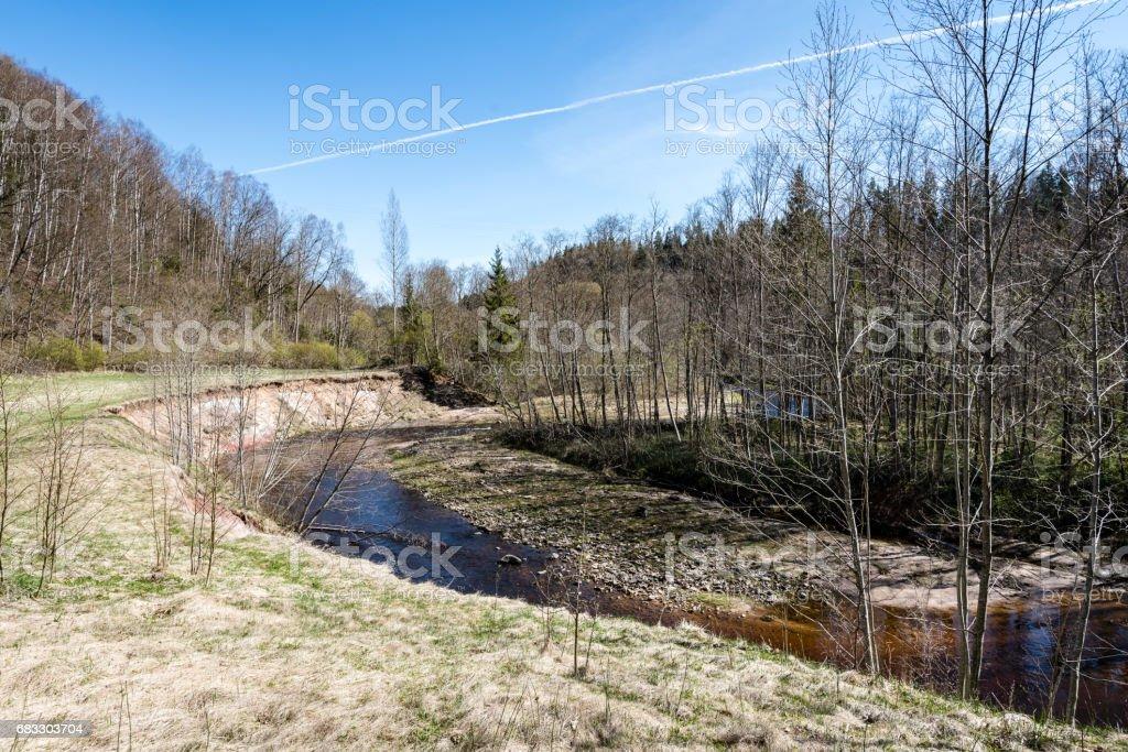 美しい春の色の川の国 ロイヤリティフリーストックフォト