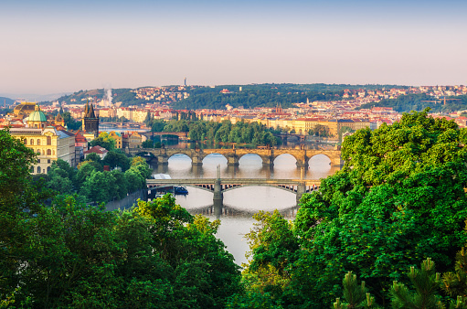 Scenic Spring Sunrise Aerial View Of The Old Town Pier Architecture And Charles Bridge Over Vltava River In Prague Czech Republic Stock Photo - Download Image Now