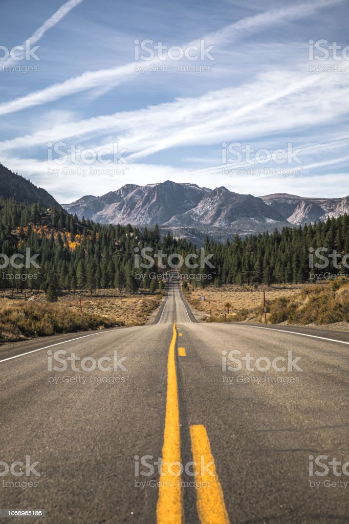 Scenic curving mountain road with peak seasonal Autumn yellow colored...