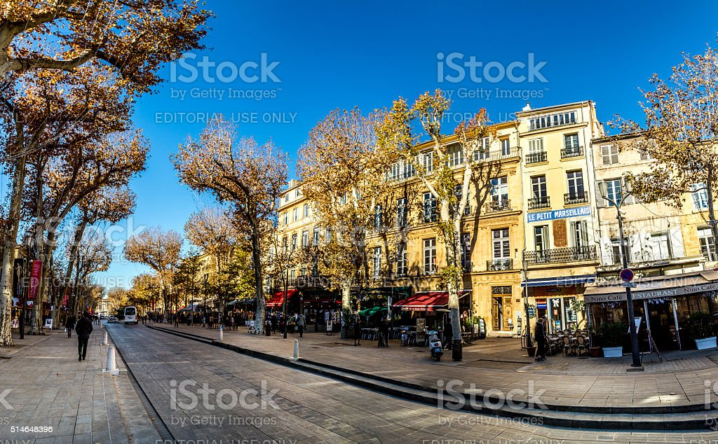 scenic street cours mirabeau in morning light stock photo