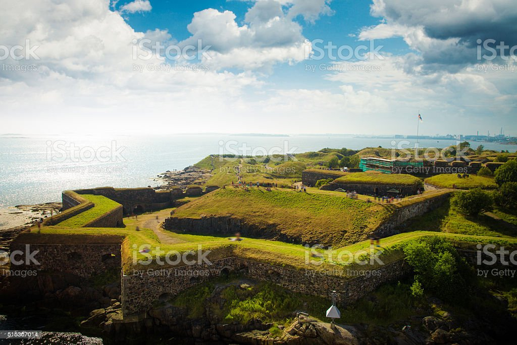 Scenic summer aerial view of Suomenlinna stock photo