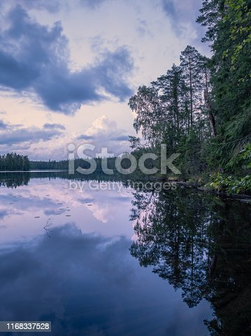 Scenic summer night landscape with mood light and beautiful reflections at lakeside in Finland.