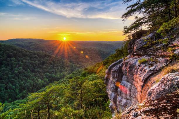 Scenic summer sunset along cliffline stock photo