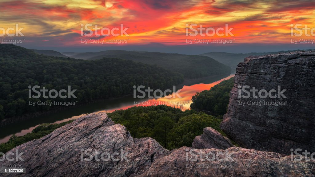 Scenic summer sunset, Appalachian Mountains stock photo