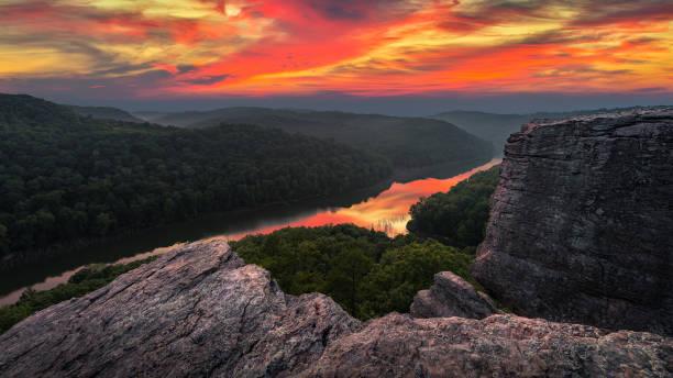 Scenic summer sunset, Appalachian Mountains stock photo
