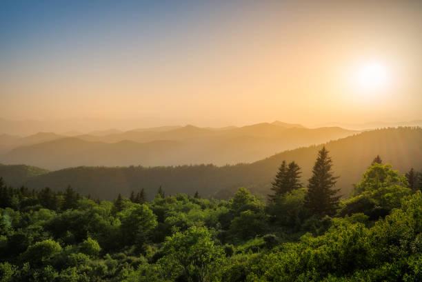 Scenic summer sunset over Blue Ridge Mountains stock photo