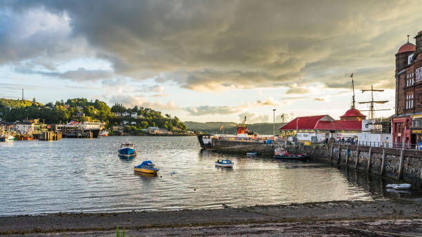 Scenic summer sunset view of Oban, a famours Scottish resort town for seafood and gateway to Mull and other islands. Oban, Argyll, Scotland, August 2017 stock photo