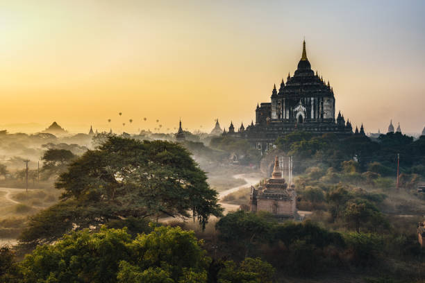 Scenic sunrise above Thatbyinnyu temple in Bagan, Myanmar stock photo