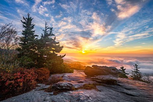 An amazing sunrise over the Blue Ridge Mountains of North Carolina during autumn.