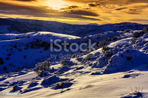 Scenic SunSet and Snowy Hills - Mountain views with fresh snow.
