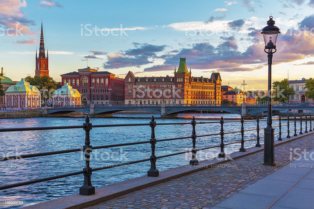 Scenic sunset in the Old Town of Stockholm, Sweden stock photo