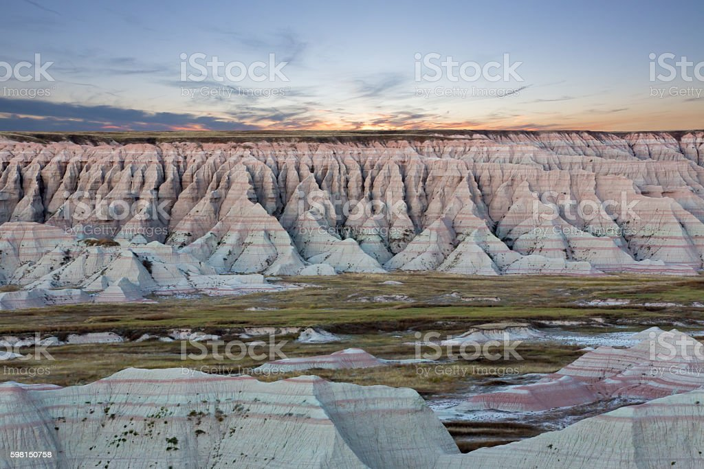 Scenic sunset view of the South Dakota badlands stock photo