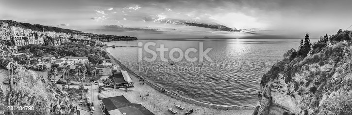 istock Scenic sunset with view over Stromboli Volcano from Tropea, Italy 1281484790