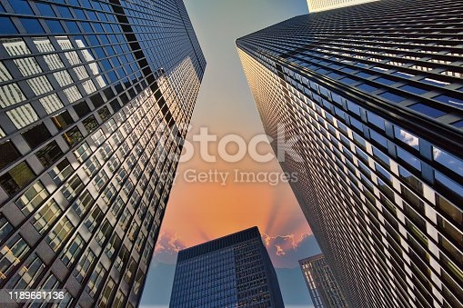 Scenic Toronto financial district skyline in city downtown near Bay and King
