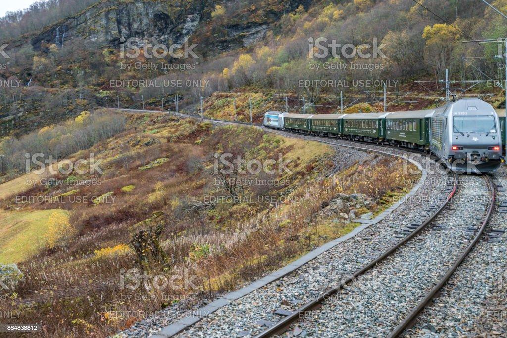 Scenic train line Flamsbana stock photo