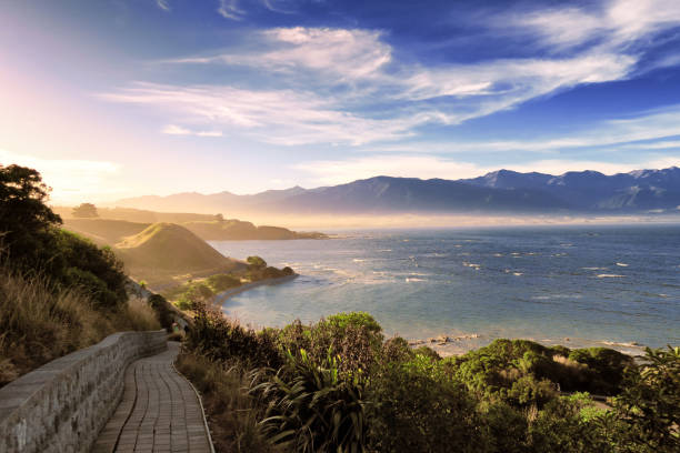 Scenic travel nature landscape of remote location in New Zealand south island. stock photo
