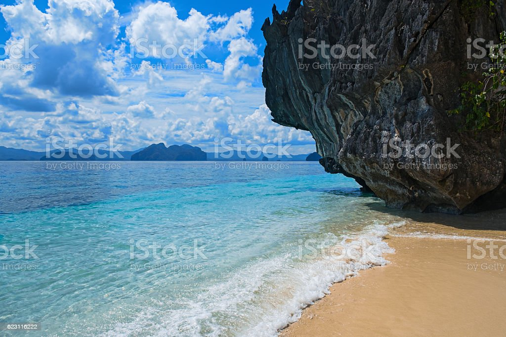 Scenic Tropical Beach El Nido Palawan Philippines Stock