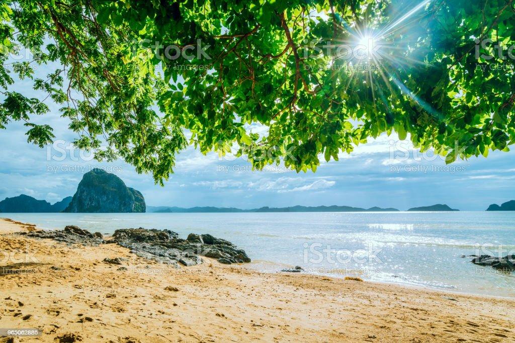 Scenic tropical beach, El Nido Palawan Philippines zbiór zdjęć royalty-free