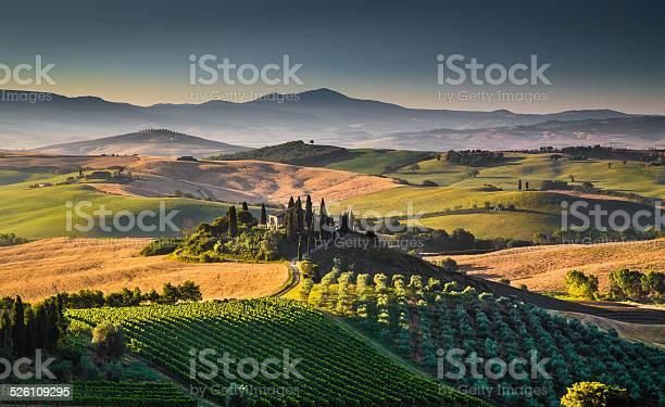 Scenic Tuscany Landscape At Sunrise Val Dorcia Italy Stock Photo - Download Image Now